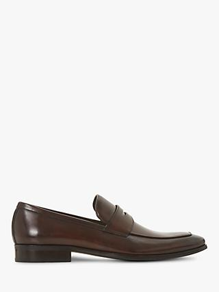 Dune Predictable Leather Loafers, Brown