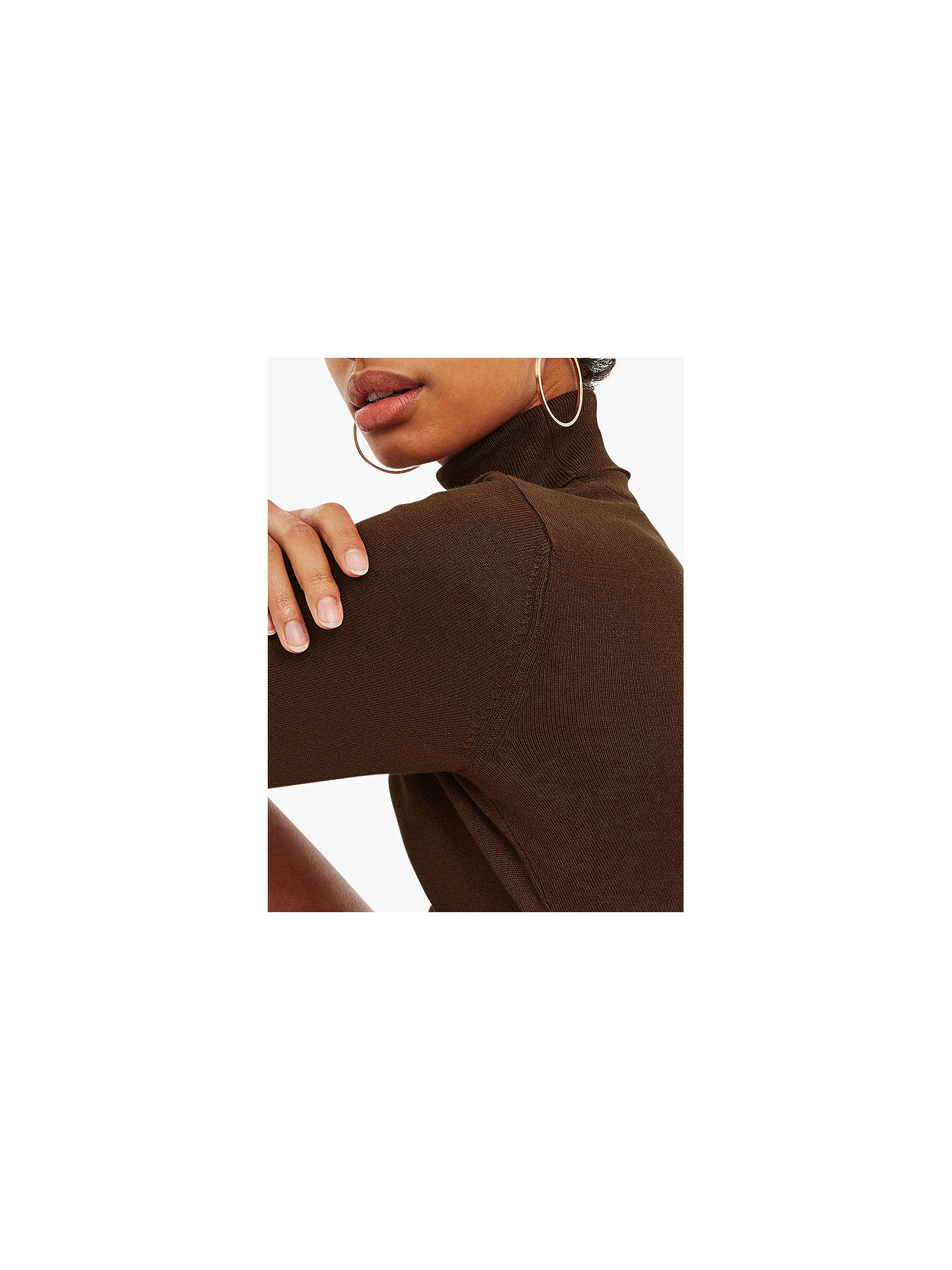 Buy Oasis Lizzie Polo Neck Knit Jumper, Mid Brown, M Online at johnlewis.com
