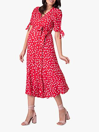 Seraphine Bessie Floral Maternity Dress, Red