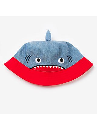 John Lewis & Partners Children's Shark Bucket Hat, Blue/Red