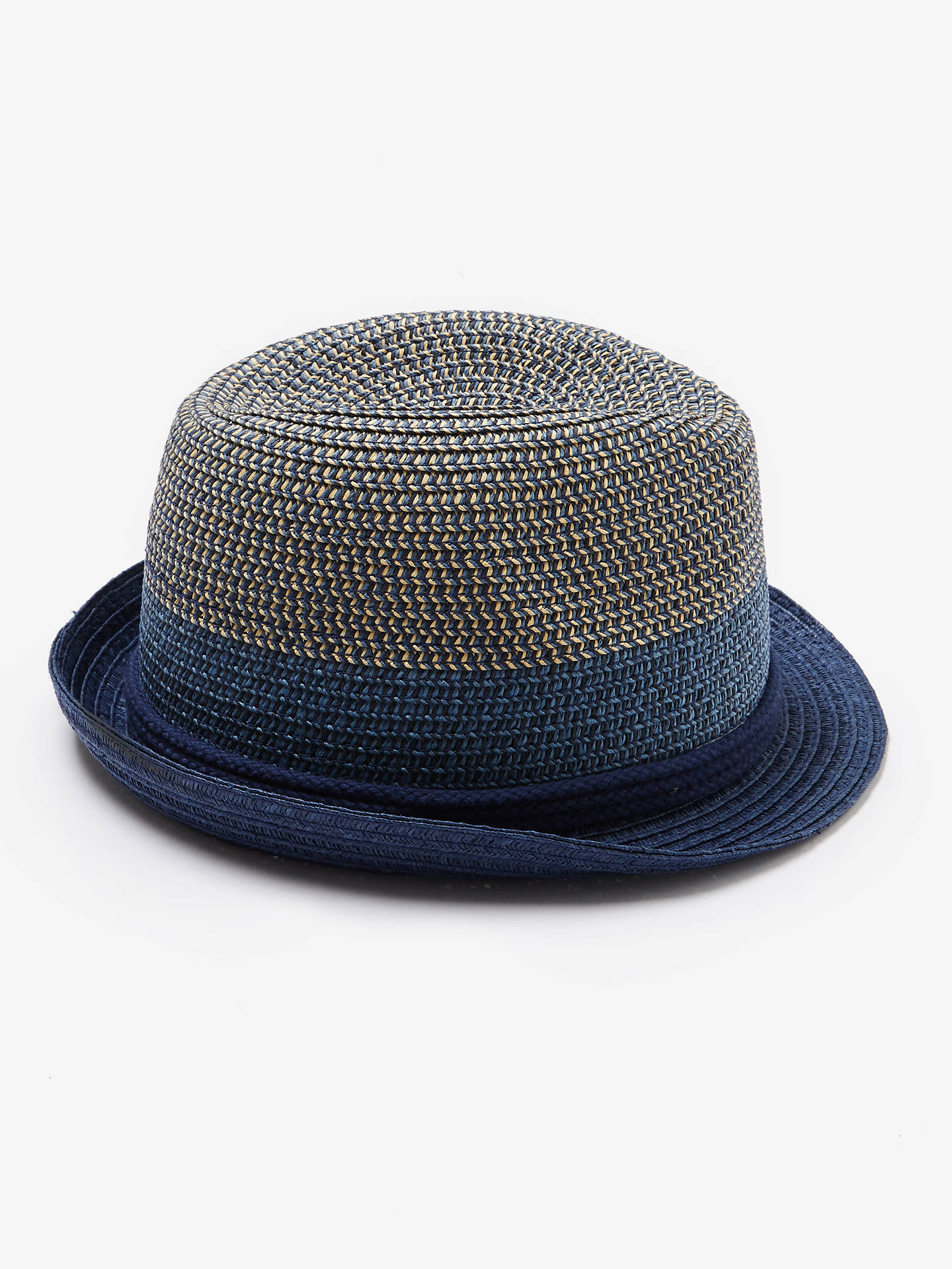 1661d1fab98412 ... Buy John Lewis & Partners Children's Tonal Trilby Woven Hat, Navy, 3-5