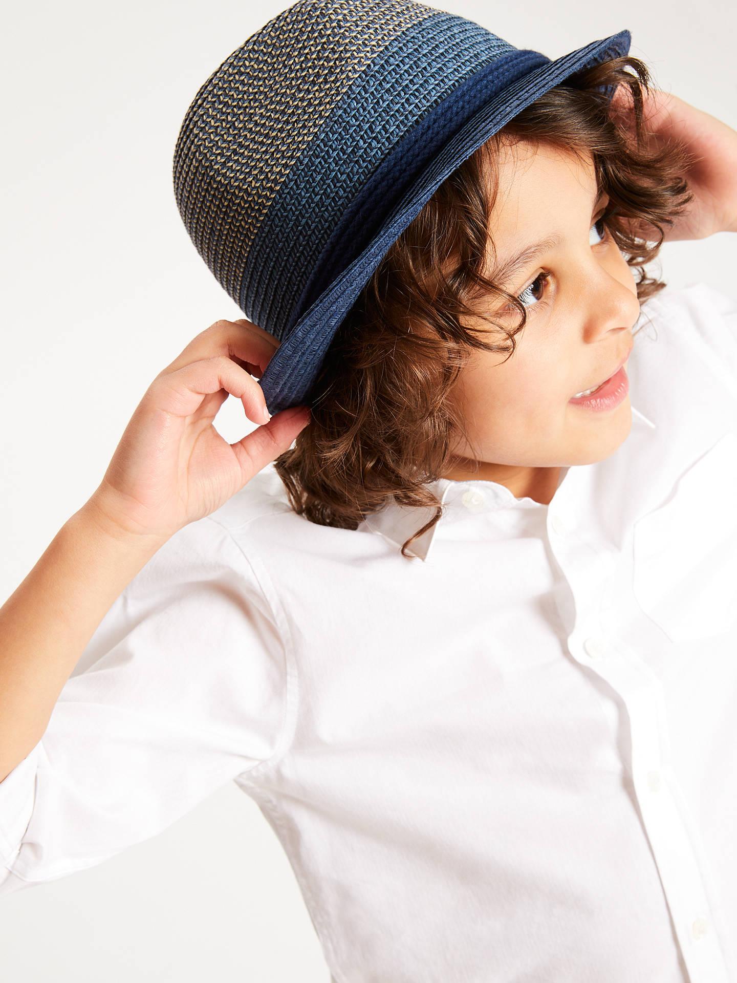 cdffae75fe6330 Buy John Lewis & Partners Children's Tonal Trilby Woven Hat, Navy, 3-5 ...