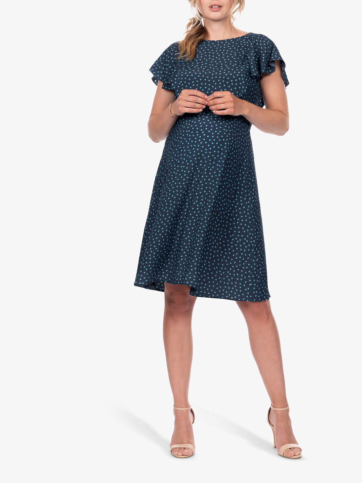 2c70e00f1eaf2 Buy Séraphine Acacia Dots Maternity Nursing Dress, Navy/Teal, 8 Online at  johnlewis ...