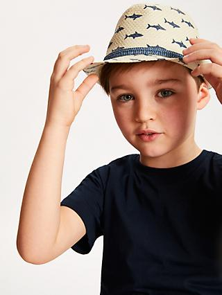 John Lewis & Partners Children's Shark Trilby Woven Hat, Neutral
