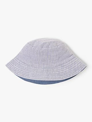 John Lewis & Partners Children's Stripe Bucket Hat, Blue