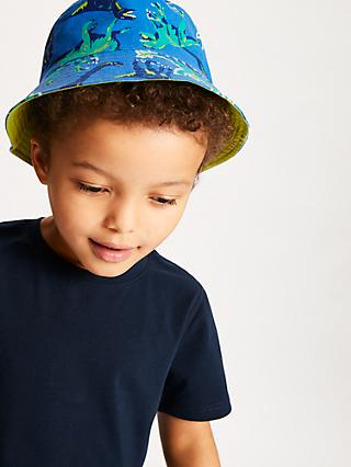 John Lewis & Partners Children's Dinosaur Bucket Hat, Blue/Green