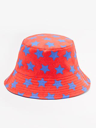 John Lewis & Partners Children's Star Bucket Hat, Red/Blue