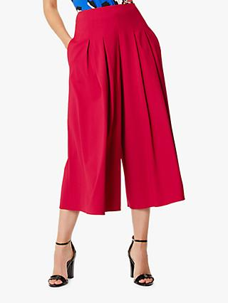 Karen Millen Pleated Detail Culottes, Dark Pink