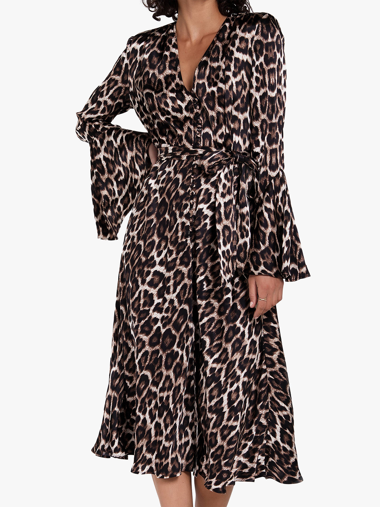 371fc62cced8 Buy Ghost Annabelle Leopard Print Midi Dress, Brown, M Online at  johnlewis.com ...