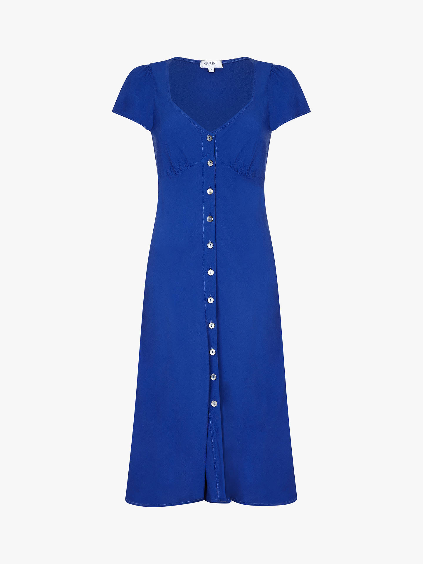 BuyGhost Leona Button Down Crepe Tea Dress, Blue, XS Online at johnlewis.com
