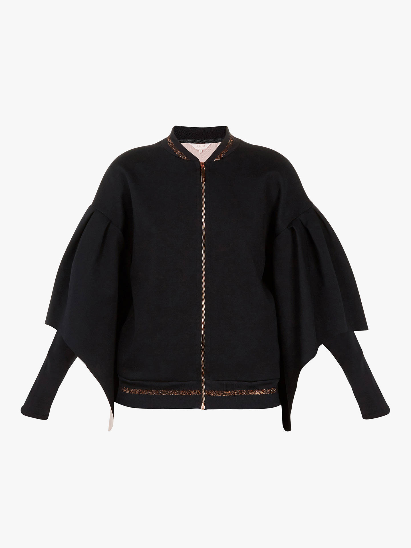 Buy Ted Baker Amithie Rib Bomber Jacket, Black, S Online at johnlewis.com