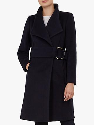 Ted Baker Belted Oversized Collar Wool Coat, Dark Blue
