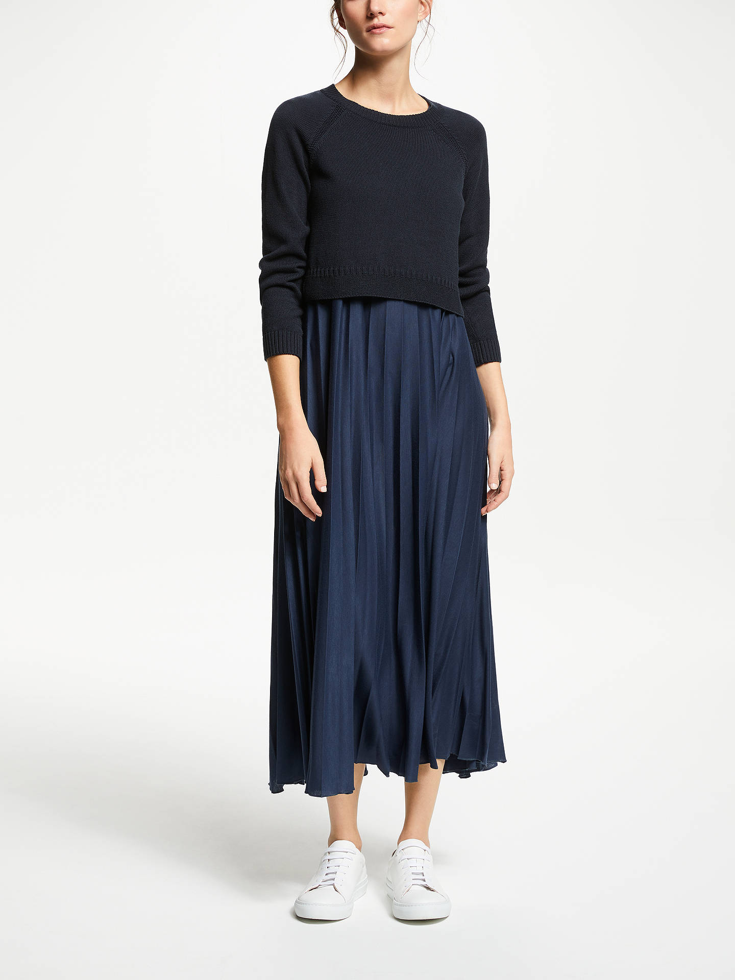 e130e70c86 Buy Weekend MaxMara Pleated Maxi Dress, Ultramarine, S Online at  johnlewis.com ...