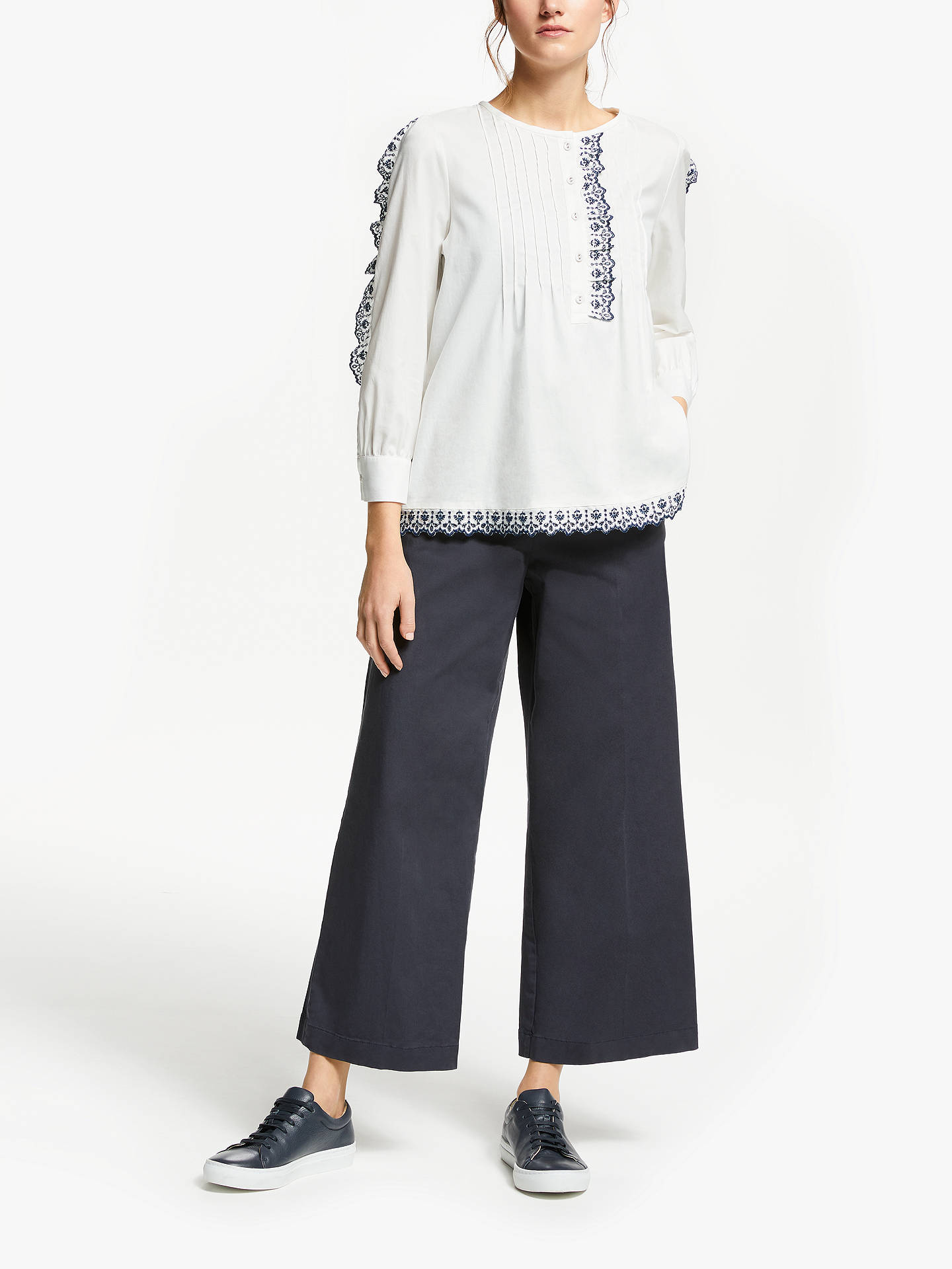 BuyWeekend MaxMara Cotton Embroidered Blouse, Optical White, 8 Online at johnlewis.com