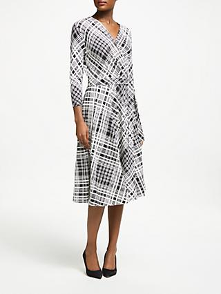 Weekend MaxMara Check Jersey Wrap Dress, White/Black