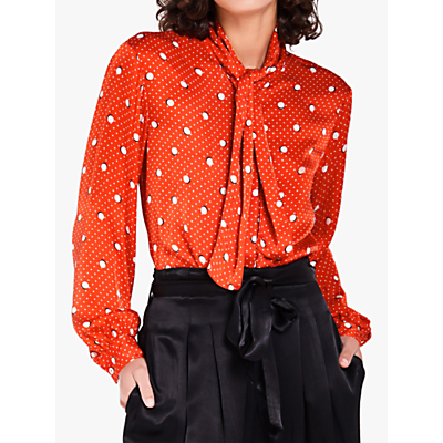 Ghost Piper Mickey and Minnie Spot Satin Blouse, Red