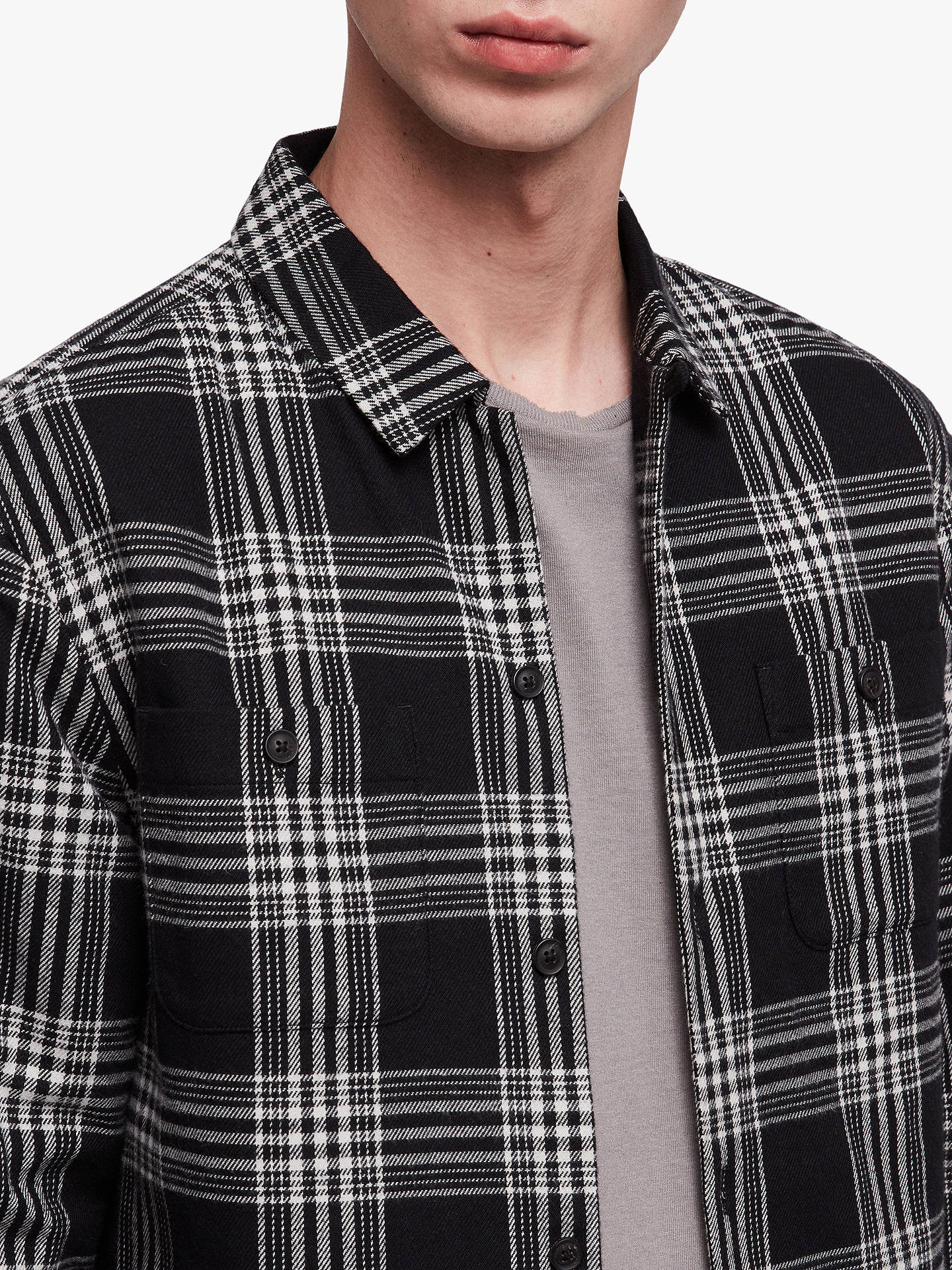 Buy AllSaints Fayette Long Sleeve Check Shirt, Black, L Online at johnlewis.com