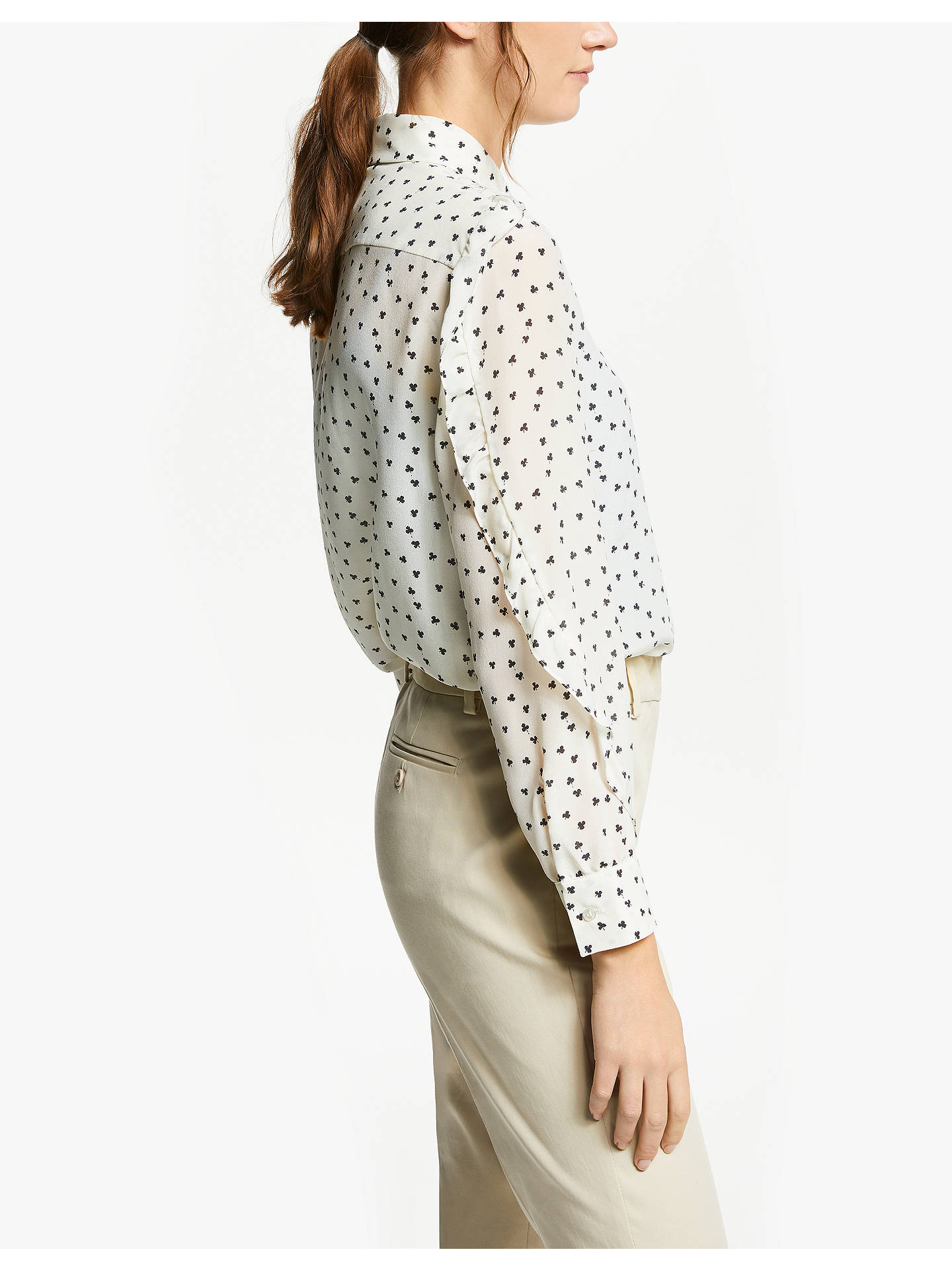 Buy Weekend MaxMara Silk Ditsy Clover Print Shirt, White, 14 Online at johnlewis.com