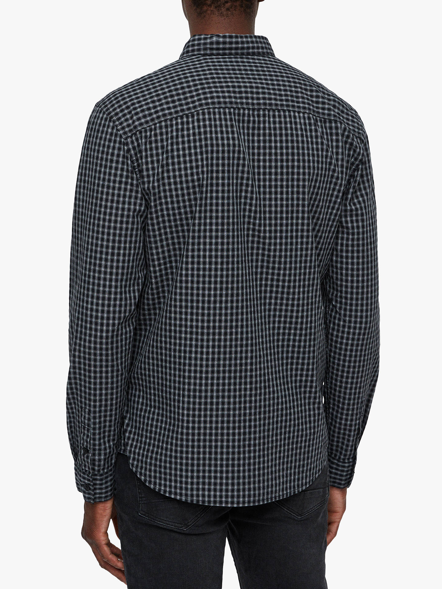 BuyAllSaints Murdo Long Sleeve Check Shirt, Black/Grey, S Online at johnlewis.com