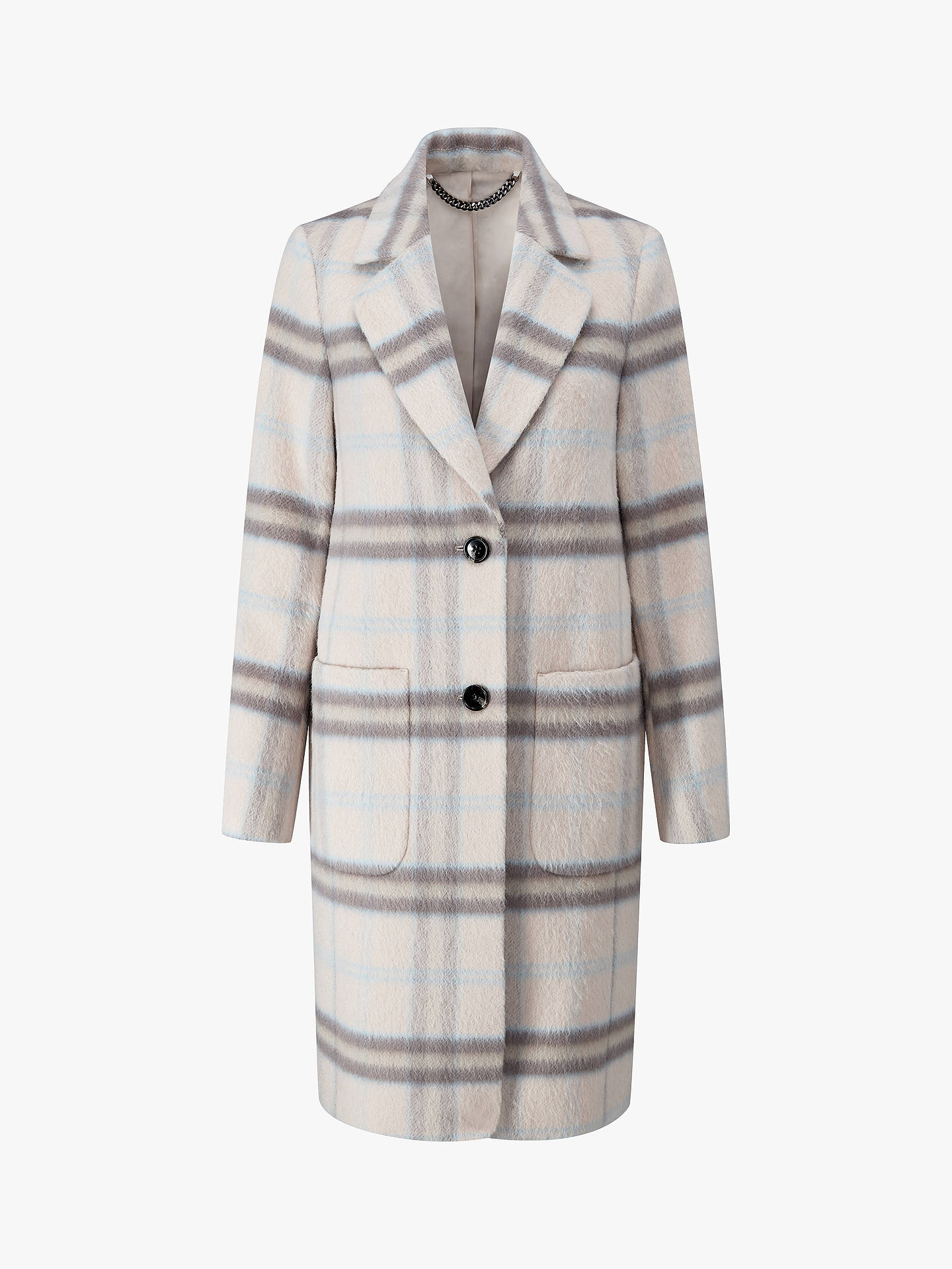 BuyPure Collection Alpaca Wool Blend Coat, Pale Blue Check, 8 Online at johnlewis.com