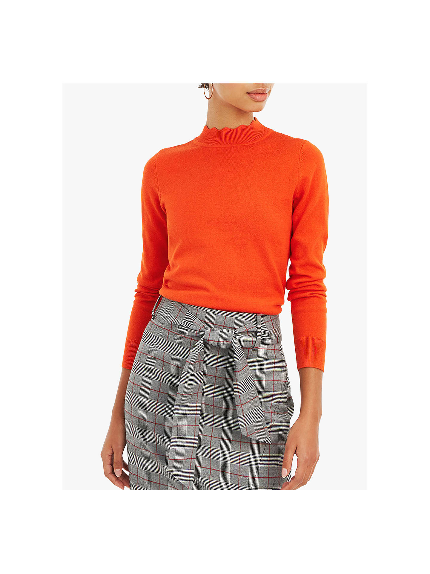 BuyOasis Scallop Turtle Neck Jumper, Orange, S Online at johnlewis.com