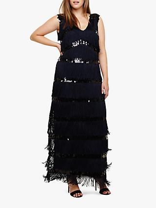 Studio 8 Starlet Fringe Maxi Dress, Navy
