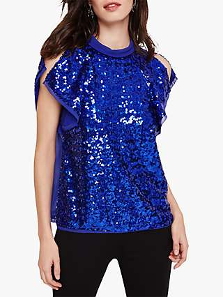 Damsel in a Dress Tally Sequin Blouse, Blue