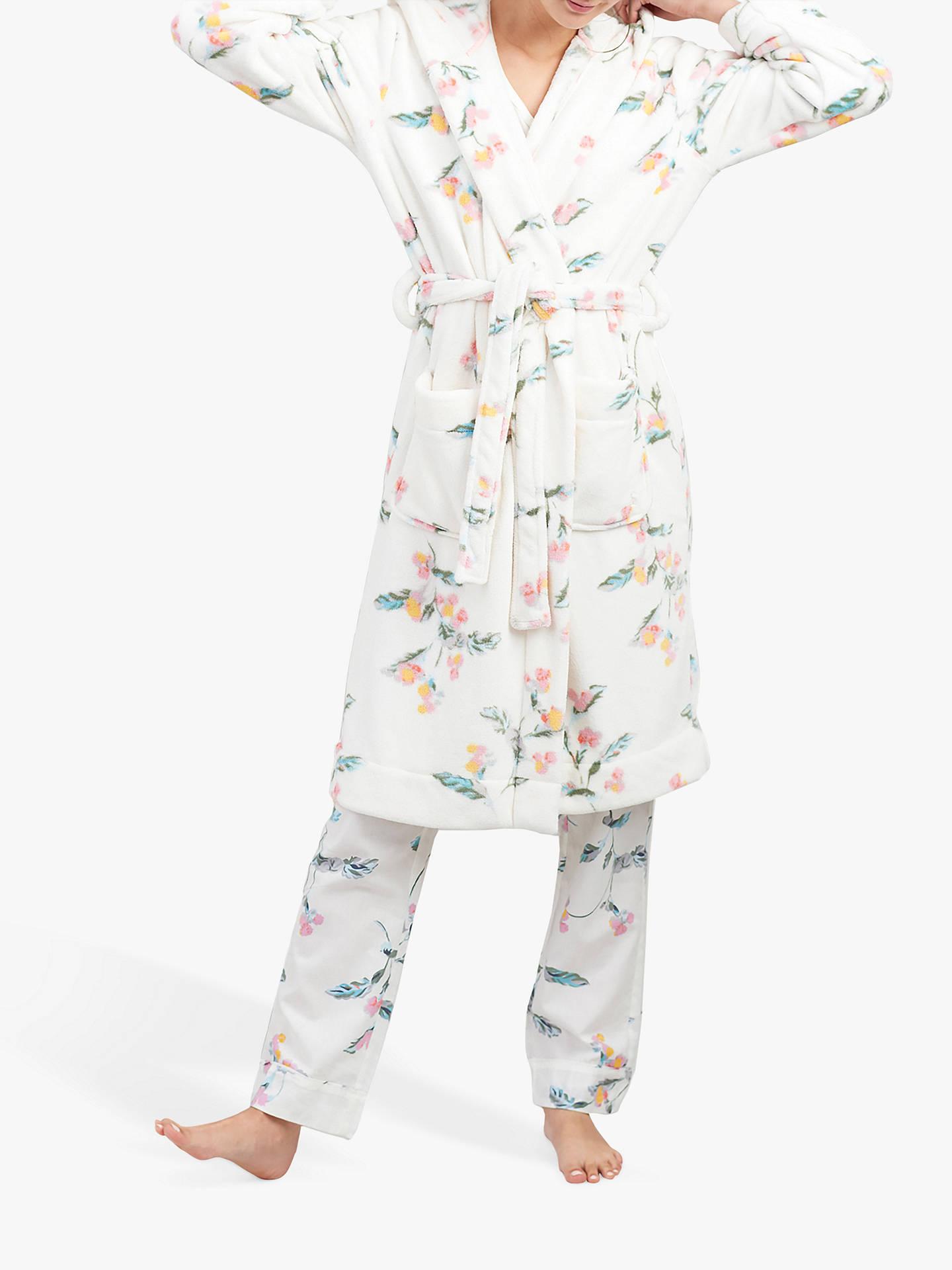 Joules Rita Floral Print Fleece Dressing Gown Cream At John Lewis