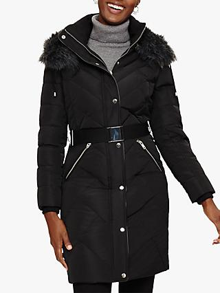 Phase Eight Bernadine Long Puffer Coat, Black