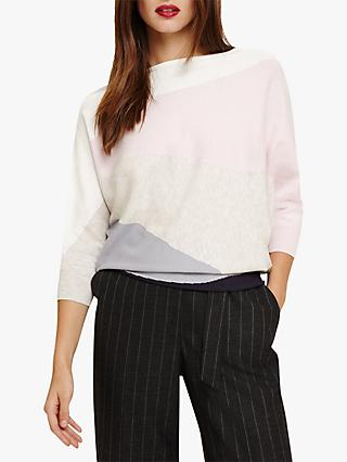 Phase Eight Lorrie Knit Colour Block Jumper, Pink/Multi
