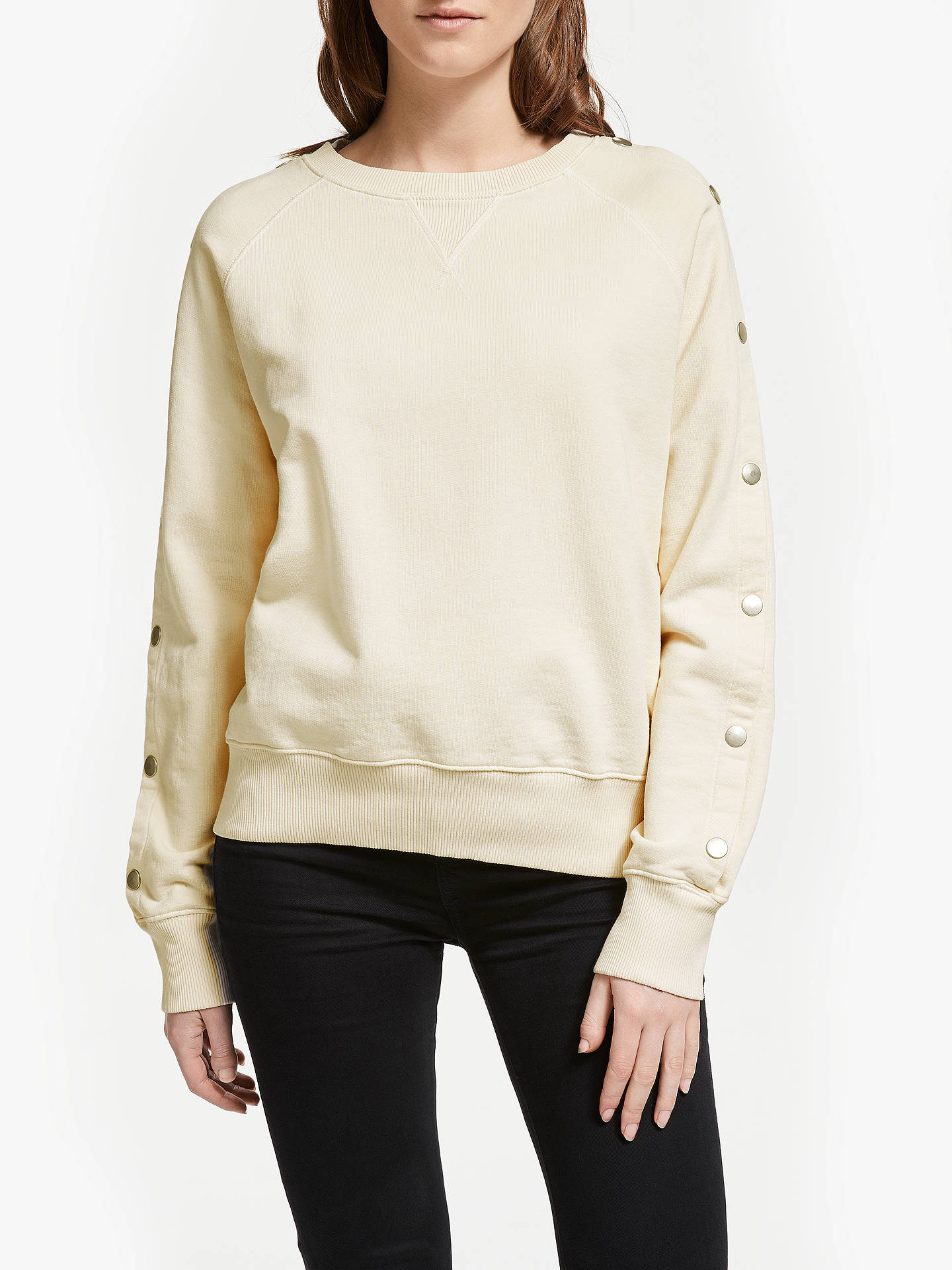 BuyIden Snap Up Sleeve Sweatshirt, Ivory White, XS Online at johnlewis.com