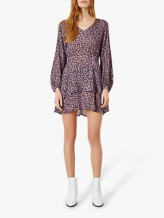Iden Animal Print Ruffle Hem Dress, Lilac/Multi