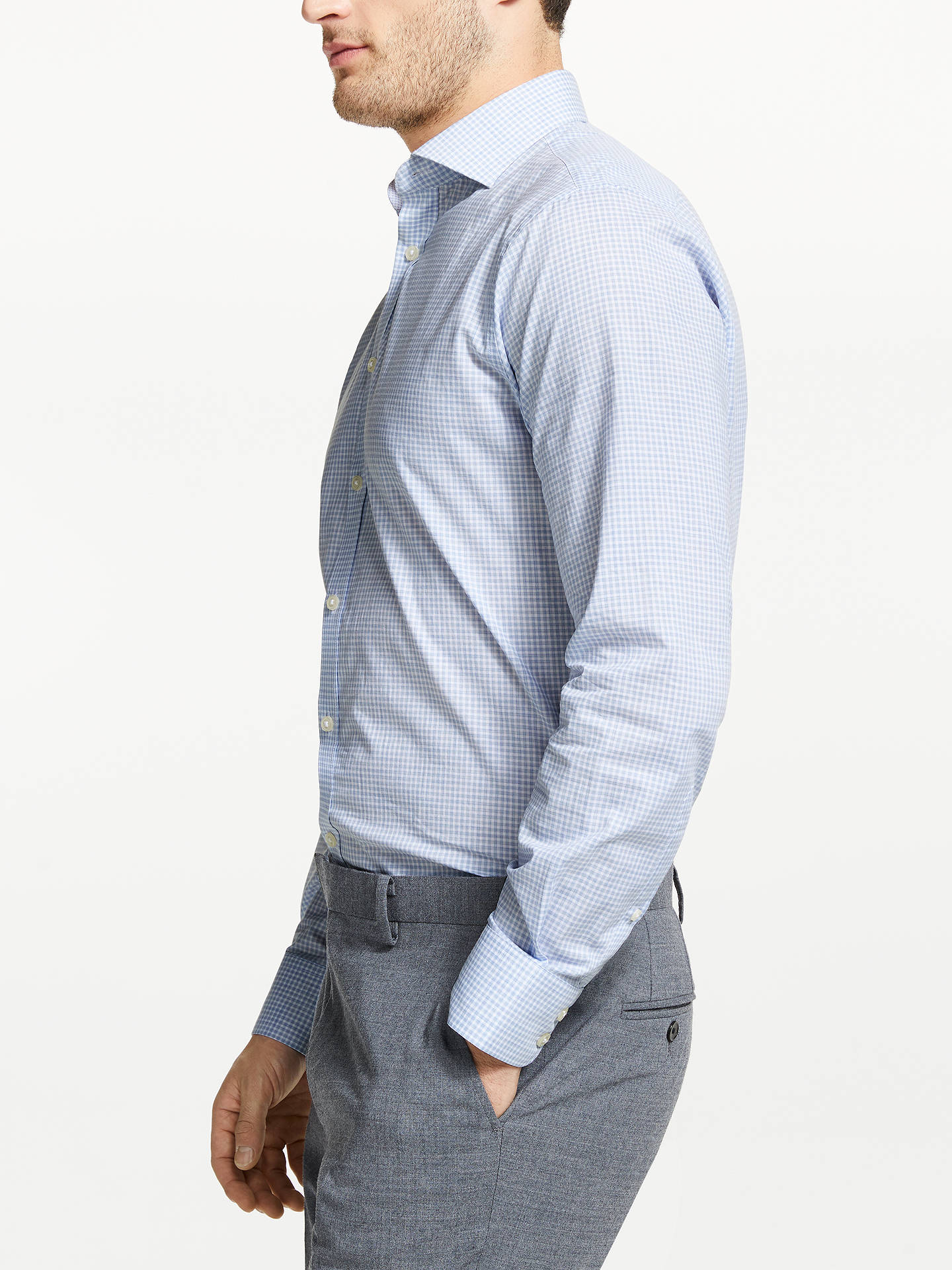 BuyJohn Lewis & Partners Tailored Abstract Gingham Shirt, Blue, 15.5 Online at johnlewis.com