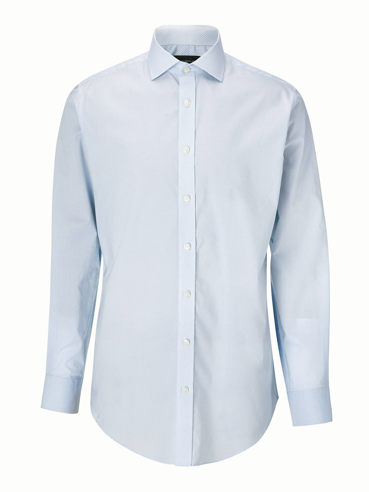 BuyJohn Lewis & Partners Tailored Mini Print Shirt, Blue, 15 Online at johnlewis.com