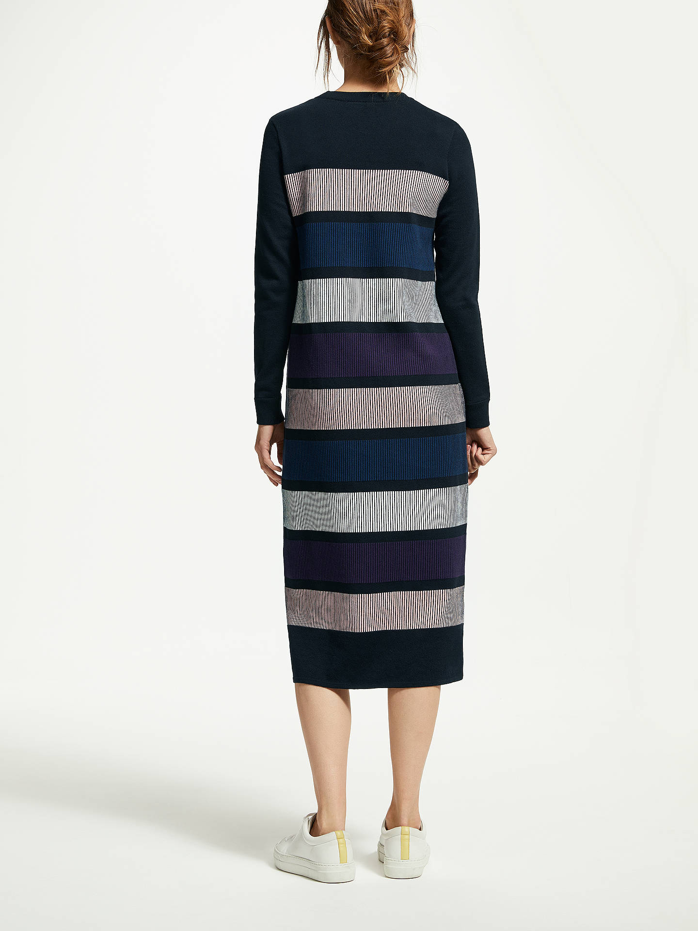 BuyARMEDANGELS Elvi Bold Stripe Organic Cotton Jersey Dress, Black, XS Online at johnlewis.com
