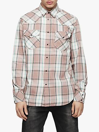 Diesel Western Long Sleeve Check Shirt, Dusty Pink