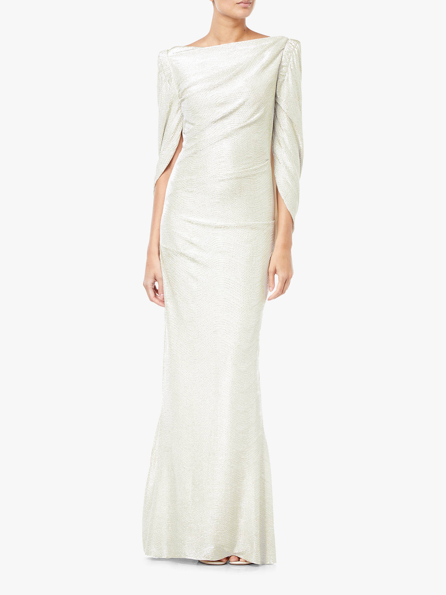 Buy Adrianna Papell Metallic Column Maxi Dress, Pearl, 18 Online at johnlewis.com