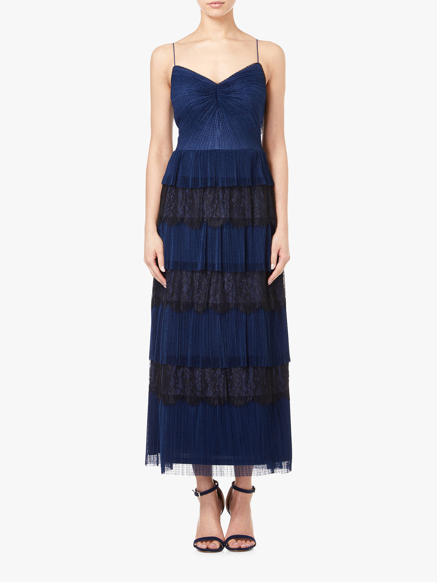 Adrianna Papell Crinkle Lace Tiered Dress Midnight Blue At