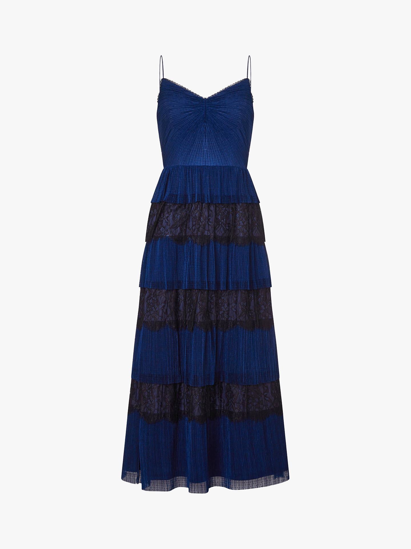 Buy Adrianna Papell Crinkle Lace Tiered Dress, Midnight Blue, 6 Online at johnlewis.com