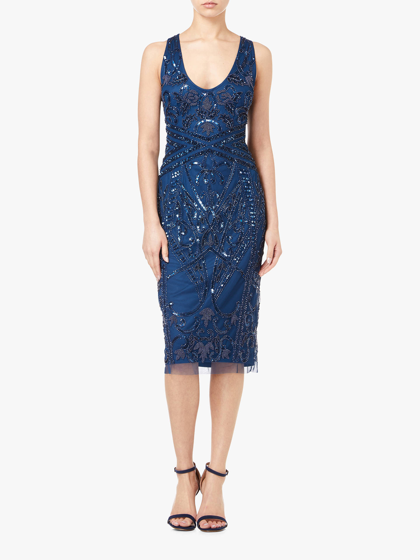 BuyAdrianna Papell Beaded Cocktail Dress, Deep Blue, 6 Online at johnlewis.com
