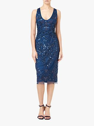 Adrianna Papell Beaded Cocktail Dress, Deep BLue