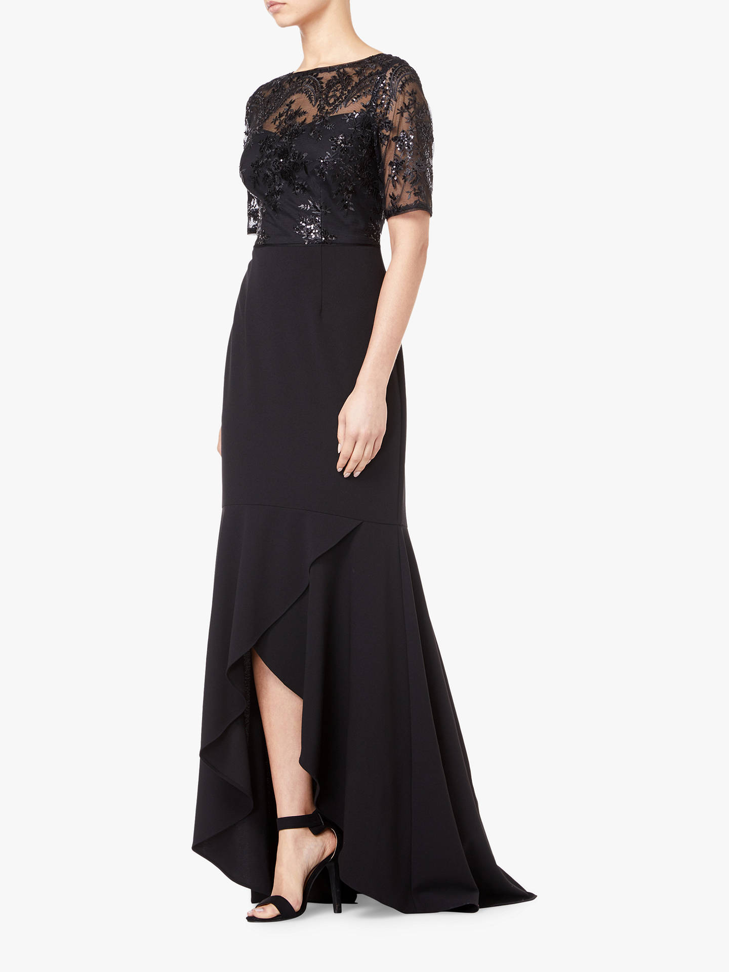 Buy Adrianna Papell Long Sequin Dress, Black, 20XL Online at johnlewis.com