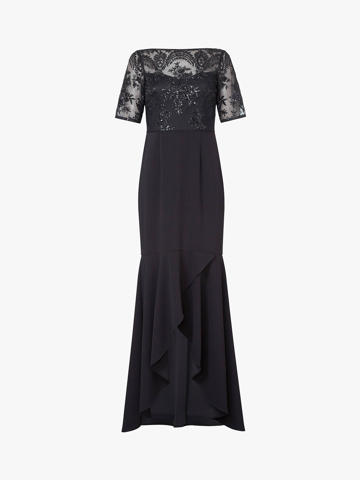 Buy Adrianna Papell Long Sequin Dress, Black, 24XL Online at johnlewis.com