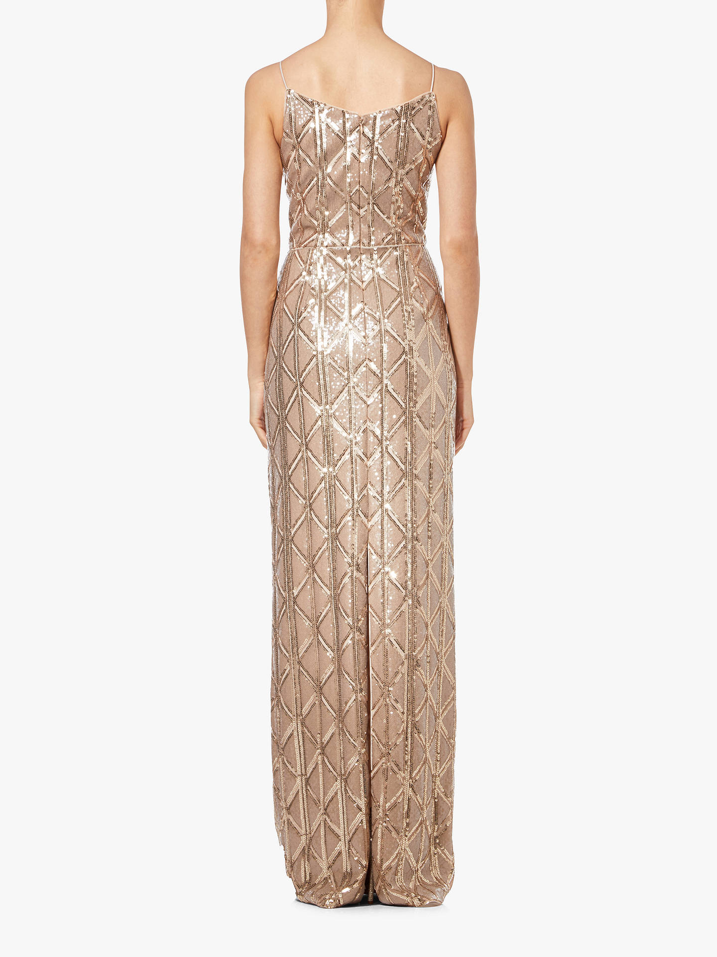 Buy Adrianna Papell Long Sequin Dress, Champagne, 6 Online at johnlewis.com