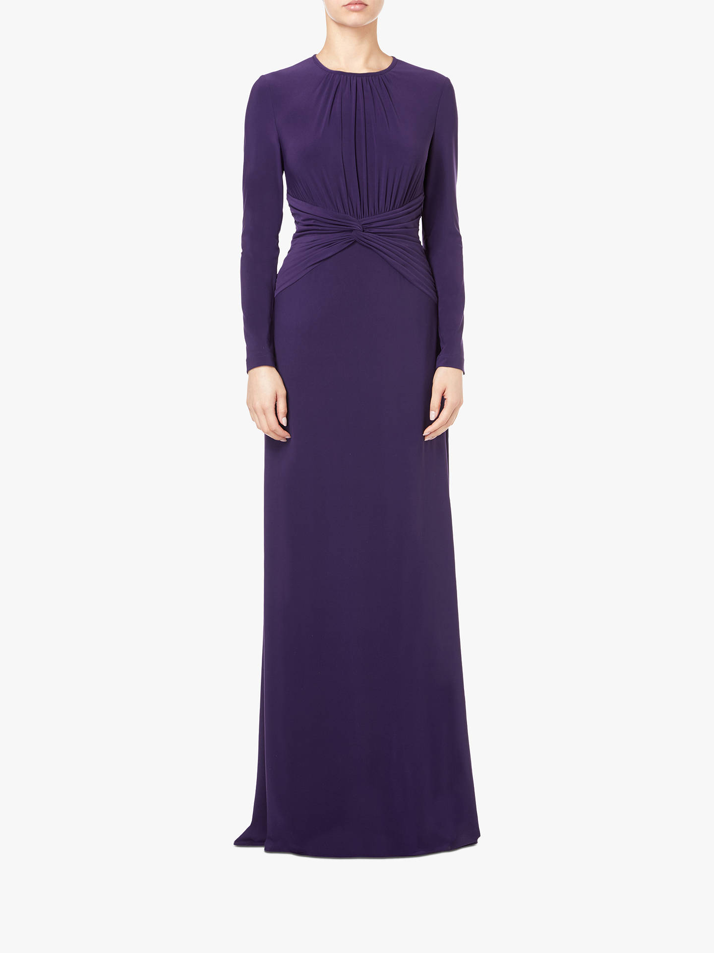 BuyAdrianna Papell Ruche Maxi Dress, Aubergine, 6 Online at johnlewis.com