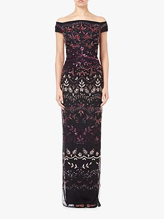 Adrianna Papell Off The Shoulder Long Beaded Dress, Rouge