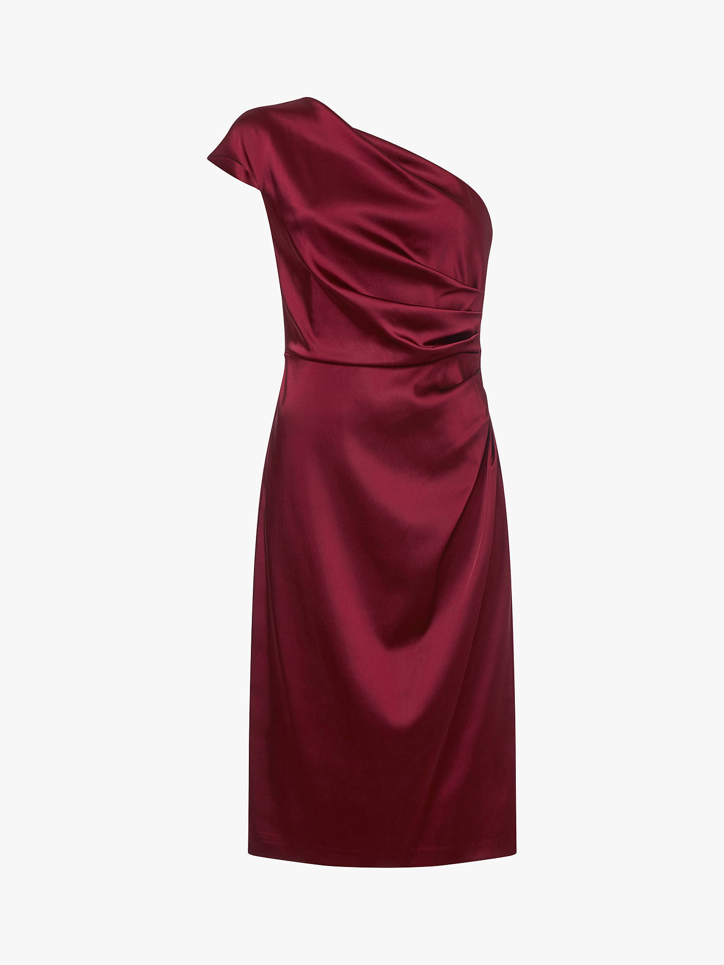 BuyAdrianna Papell Stretch Satin One Shoulder Dress, Garnet, 8 Online at johnlewis.com