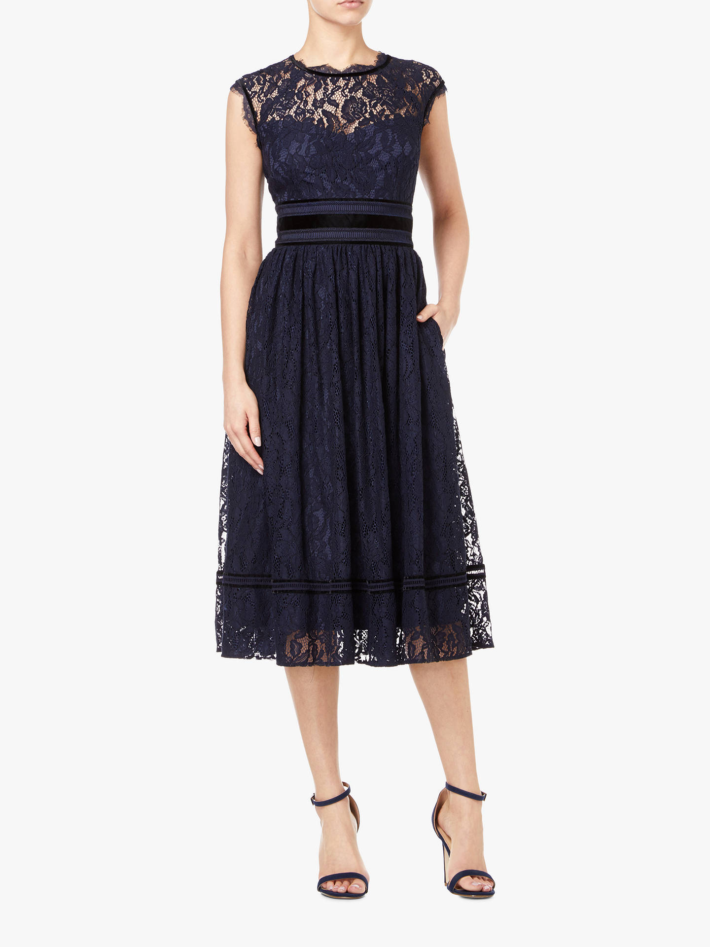Buy Adrianna Papell Short Lace Dress, Midnight, 16 Online at johnlewis.com