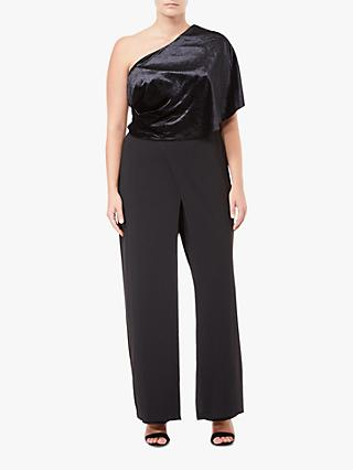 Adrianna Papell Crepe One Shoulder Jumpsuit Petite, Black
