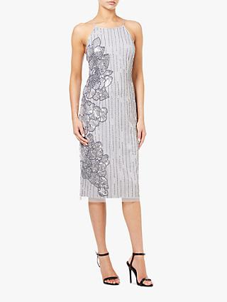 Adrianna Papell Fitted Beaded Midi Dress, Silver